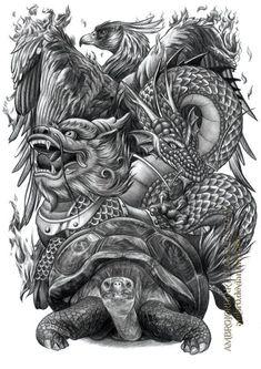 Chinese Auspicious Creatures by on DeviantArt Japanese Tattoo Art, Japanese Sleeve Tattoos, Tattoo Sketches, Tattoo Drawings, Foo Dog Tattoo Design, Vietnam Tattoo, Hannya Tattoo, Chinese Dragon Tattoos, Asian Tattoos