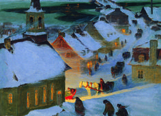 EuroGraphics Christmas Mass by Clarence Gagnon 1000-Piece Puzzle. This beautiful winter scene provides a fun way to celebrate the holidays! Canadian artist Clarence Gagnon shows a traditional Canadian Christmas in this beautiful painting.