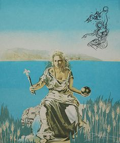 Salvador Dali - Coronation of Gala (lithograph on Arches, 1976)