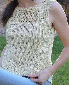 Free Knitting Pattern for Summer Vacation Easy Top - Jessica of Mama in a Stitch designed this easy sleeveless crop top with mesh yoke that's a fast knit with two strands of yarn held together.