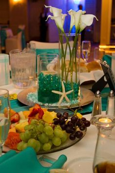 Formal Beach Themed Wedding :  wedding aqua beach black blue brown centerpieces chargers diy gold green inspiration ivory navy orange pink purple reception red silver starfish teal white yellow maybe with white gerber daisies instead