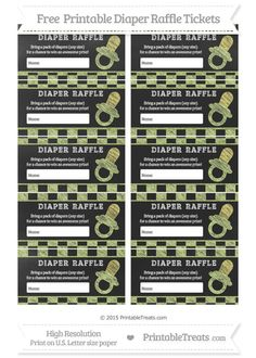 Free Pastel Lime Green Checker Pattern  Chalk Style Baby Pacifier Diaper Raffle Tickets