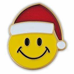 Christmas Smiley Face Pin . $3.95