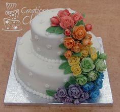 rainbow wedding cakes | Rainbow Rose Wedding Cake — Round Wedding Cakes ... Very Beautiful Cake, But roses NEED to be in BRIGHTER colors!!