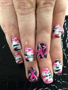 Breast Cancer Awareness Pink Camo Nails  www.awildhairsalonreno.com Pink Camo Nails, Camo Nail Art, Camo Nail Designs, Nail Art Designs, Breast Cancer Nails, October Nails, Country Nails, Gothic Nails, Halloween Nail Art