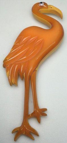 """Rare Bakelite Flamingo Pin Laminate Orange On Cream 4 1/4"""" (C442)"""