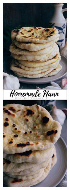 Homemade Naan - Living The Gourmet Healthy Bread Recipes, Best Bread Recipe, Healthy Baking, Recipes With Flour Tortillas, Naan, Dessert, Kitchen Recipes, International Recipes, The Fresh
