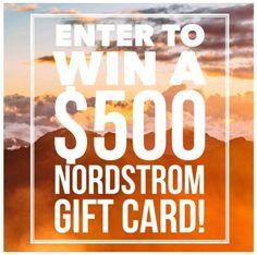 $500 Nordstrom Gift Card (or Cash) Giveaway