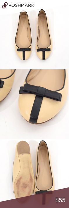 J.Crew black bow leather ballet flats Chic little ballet flats from J.Crew. Soft, supple beige-colored leather body with contrast black strip and bow. Size 9. No signs of wear above sole. J. Crew Shoes Flats & Loafers