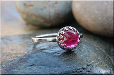Ruby Ring July Birthstone Ruby Ring Crown Bezel by thewrappedpixie