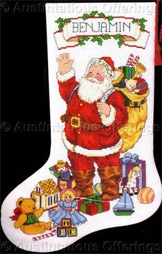 Rare McAulay Cross Stitch Stocking Kit Santa Christmas Greetings