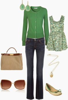 Everyday Outfits | Green  East Cashmere cardigan, Green Floral top, 7 For All Mankind jeans, Nine West flat shoes, Fendi bag, Retrosun Maroon sunglasses  by mamafolie