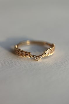 Nike Gold Goddess Angel Wings Ring Christmas Gift, Dainty Gold Olive Branch Modern Gold Ring, Bridesmaid Anniversary Gift for Her - Gold rings -