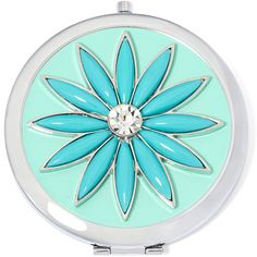 Liz Claiborne Blue Stone Silver-Tone Flower Mirror Compact found on Polyvore featuring beauty products, beauty accessories and liz claiborne