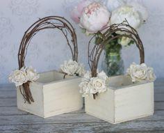 Flower Girl Basket Shabby Chic Wedding Decor SET OF 2 (P10378) #EasyPin