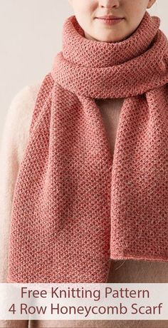 Free knitting pattern for 4 row repeat mini honeycomb scarf 4 row repeat of a delicate 2 stitch cable pattern creates an overall honeycomb texture designed by purl soho fingering weight yarn crafting 365 feather fan scarf Easy Knitting Patterns, Knitting Stitches, Free Knitting, Free Scarf Knitting Patterns, Snood Knitting Pattern, Outlander Knitting Patterns, Knitting Scarves, Knitting Ideas, Mode Crochet