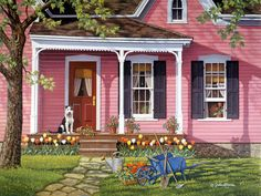 Sittin' Pretty is a 1000 piece jigsaw puzzle designed by artist John Sloane. A dog sits at attention on the front porch of a pink shingled country cottage. The first signs of spring have arrived with colorful tulips in bloom. Pink Houses, Little Houses, Country Scenes, Country Art, Naive Art, Cozy Cottage, Farm Life, Art Pictures, Home Art