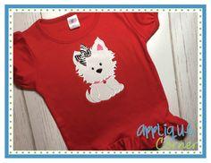 Puppy with Collar Heart Applique Design