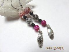Boucles d'oreilles Agate Mandala Lotus dans la Main, Onyx, Bijou Zen, Cadeau Zen : Boucles d'oreille par zenboutik