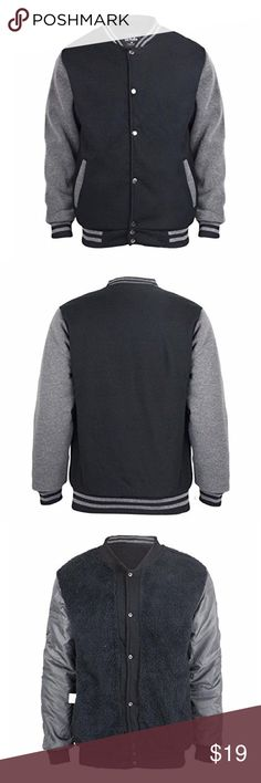 Men's Sherpa Lined Fleece Varsity Bomber Jacket For best fit and layer, we recommend to order one size up!  Material : 100% Polyester Interior : 100 % Polyester Fleece A snap button front closure Slanted front welt pockets Contrast long sleeves Contrasting stripes at the collar, cuffs, and hem Ultra soft sherpa lining for warmth and comfort Dri-power moisture-wicking technology helps keep you warm and dry. Extra warm 8.5 oz. heavyweight fleece helps to block out cold and chill Soft fur…