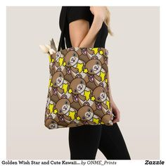 Shop Golden Wish Star and Cute Kawaii Otter Tote Bag created by ONME_Prints. Shopping Bag Design, Shopping Bags, Golden Star, Very Lovely, Otters, Kawaii, Fancy, Tote Bag, Pretty