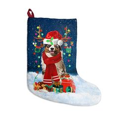 "Australian Shepherd Dog Christmas Holiday Stockings, Christmas Stockings with Hanging Loop - Size : 11"" x 17"" x 16"" P... #Australian Shepherd #Dog Lovers gift #Christmas Gift #Christmas Stockings"