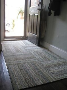Modular FLOR carpet squares stay in place, are washable.  For an entryway.                                                                                                                                                                                 More