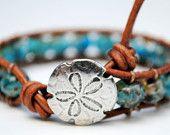 Triple Row Leather  Bracelet Sandollar bracelet