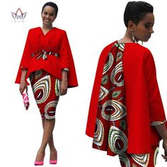 Africa Style Women African Clothing/ 2 Piece Set Dress Suit for Women Tops Jacket and Print Skirt Clothing #owame11