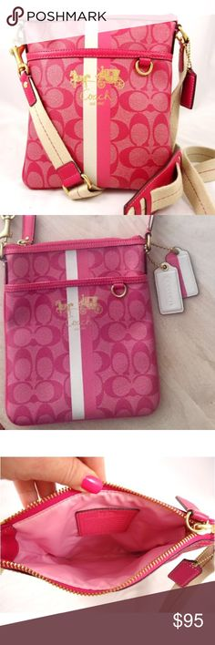 "Coach Chelsea Stripe Pink Magenta Crossbody NWOT Length:8.5"" Width:7.5"" Strap drop: 12-24"" (adjustable)  All measurements are taken with the item laid flat.  Condition: Never Used. No tags.  Color: Pink & White 30% off on bundles. I ship same-day from pet/smoke-free home. Buy with confidence. I am a top seller with over 500 5-star ratings and A LOT of love notes. Check them out! 😊😎 Coach Bags Crossbody Bags"