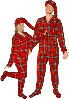 Red Plaid Fleece Adult Footed Pajamas with Drop Seat and Long Night Cap d2e8ebe3b
