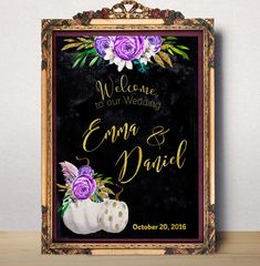 Wedding Sign Printable Purple Wedding Welcome sign by AlniPrints #wedding #fall #invitation #gold #white #Purple # pumpkin #invite #decor #welcome