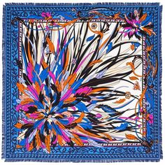 """Emilio Pucci Estate Silk Twill Square Scarf--Easy breezy way to add that """"pop"""" to any every-day outfit."""