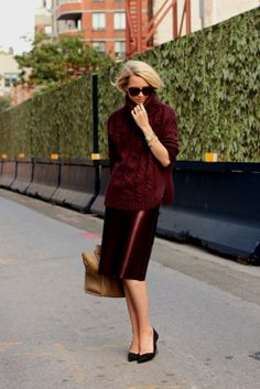 Oversized knits + festive pencil skirt when cold. Style inspiration via Atlantic-Pacific #fallfashiontrends