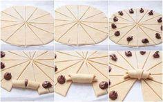 (je verrai bien une version salée apéro plutôt que beurk-nutella)   Étalez une pâte feuilletée sur un plan de travail pour qu'elle ai une forme ronde et une épaisseur de 0.5 cm.  ...Couper la pâte en 12 quartiers.  Au bout de chaque triangle, faites une petite incision. Garnissez.  Enroulez les triangles comme indiqué sur la photo pour obtenir des petits croissants.  Dorez le dessus avec un jaune d'oeuf et cuire au four à 200° pendant 10 à 15 minutes jusqu'à ce qu'ils soient dorés.