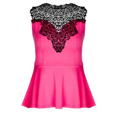 City Chic Lace Love Ponte Peplum Top (220 PEN) ❤ liked on Polyvore featuring tops, shirts, blusas, pink, pink lace shirt, peplum top, sweetheart neckline tops, crochet shirts and pink peplum top