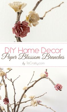 DIY Home Decor Paper Flowers Blossom Branches Need and idea for Mother's Day? Surprise her with this cute DIY. Faux Flowers, Diy Flowers, Paper Flowers, Ikebana, Craft Tutorials, Diy Projects, Video Tutorials, Craft Ideas, Diy Paper