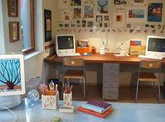 Use the existing red tower as desk drawer for Jennifer's space