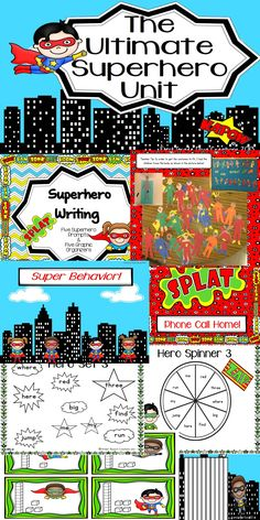 """$ Take a look at this unit and see everything you get! This pack is a great addition to your """"Back to School Superhero"""" theme this fall or a compliment for """"Zero the Hero"""" and """"100th Day"""" activities later in the year. *Images of super hero are copyrighted by Pink Cat Studios.* Back To School Superhero, Superhero Writing, Superhero Classroom Theme, Classroom Themes, Classroom Checklist, Superhero Ideas, Library Activities, Back To School Activities, Writing Activities"""