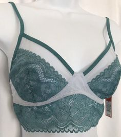 c1e1d0415abbf Women s Lace Back Bralette Gilligan  amp  O Malley Aqua XS New with Tags