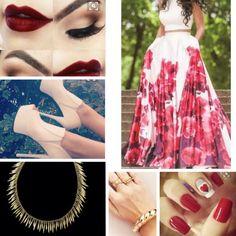 Branco e vermelho  Vestido florido