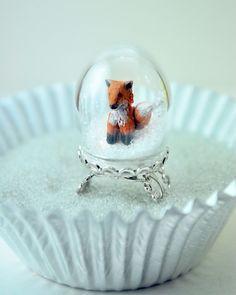 Winter Fox Ring Handmade Miniature Polymer clay animal ring via Etsy