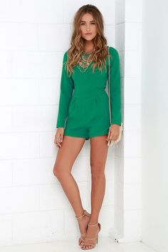 Game of Love Green Romper at Lulus.com!