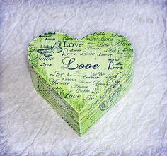 """Love Box . Dimensions : 3,5"""" /3,5 / 1,5"""", $10.00"""