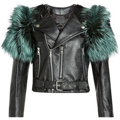 Marc Jacobs Leather Jacket ($2,330) ❤ liked on Polyvore featuring outerwear, jackets, black, 100 leather jacket, marc jacobs, fox fur jacket, real leather jackets and genuine leather jackets