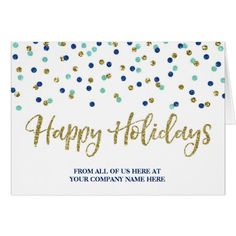 Gold Blue Glitter Confetti Corporate Christmas Card