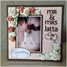 Randis hobbyverden: Bryllupskort i rosa og brunt