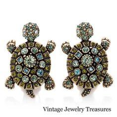 Heidi Daus Simply Irresistible Turtle Crystal Pierced Earring Set New HSN