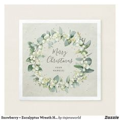 Shop Snowberry + Eucalyptus Wreath Holiday Party Napkins created by itsjensworld. Party Napkins, Wedding Napkins, Watercolor Rose, Watercolor Wedding, Christmas Paper Napkins, Eucalyptus Wreath, White Peonies, Cream Roses, White Elephant Gifts