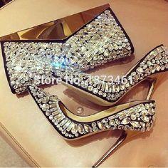 high quality 2016 New Rhinestone High Heels pumps sexy Pointed toe Woman Crystal Wedding party dress shoes 7cm or 9cm heel alishoppbrasil
